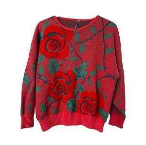 Vntg 80s Dolman Sleeve Sweater Roses Dusty Pink M